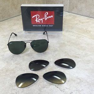 Ray-Ban Aviator Flip Out Sunglasses 3 pair Lenses